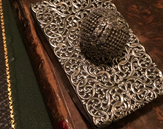 Ca 1890 Ebony and Sterling Silver Blotter