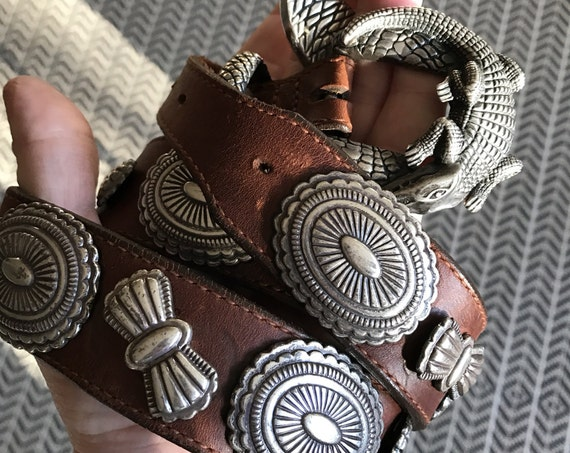 Jeff Deegan Alligator Buckle Set and Sterling Silver Concho Belt