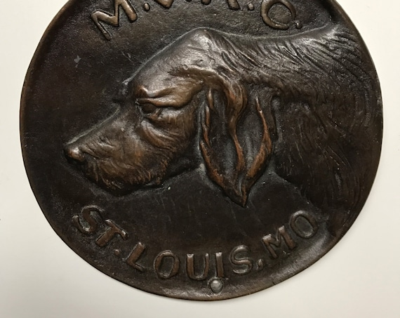 1945 - Antique Dog Show Award from St. Louis Missouri - Mississippi Valley Kennel Club - MVKC - Bronze Medallion 6""