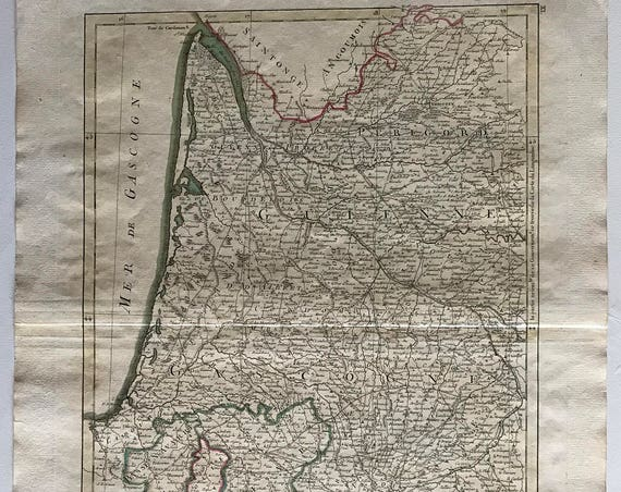 1774 Map of Gascony, France
