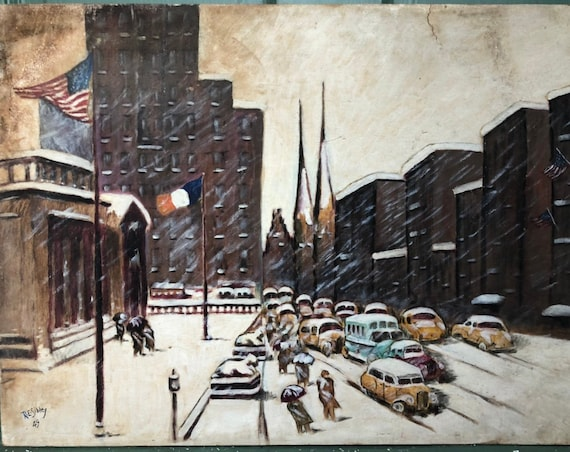 1949 Winter on the Avenue at 42nd Street Oil Painting on Canvas - Sibley, Circle of Guy Carleton Wiggins New York City