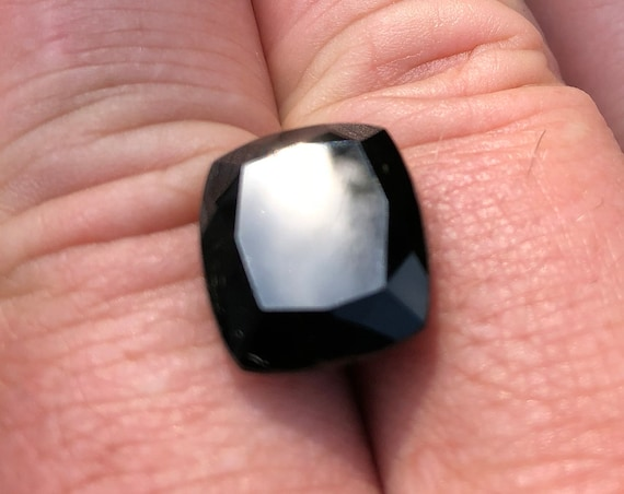 17 Ct Cushion Cut Rectangular Black Tourmaline or Schorl (9.5mm x 14mm x 16.5mm)