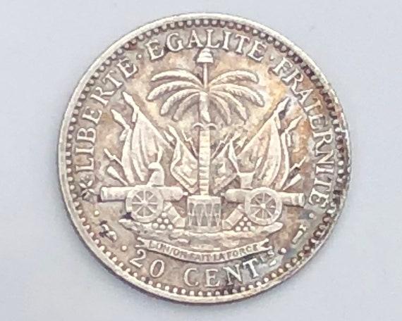 1890 Scarce XF Haiti Silver Twenty (20) Centimes Coin (KM45)