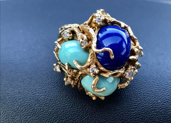 1970s 14 KT Gold Turquoise Lapis and Diamond Cluster Cocktail Ring 21 grams 585 Aquatic Marine