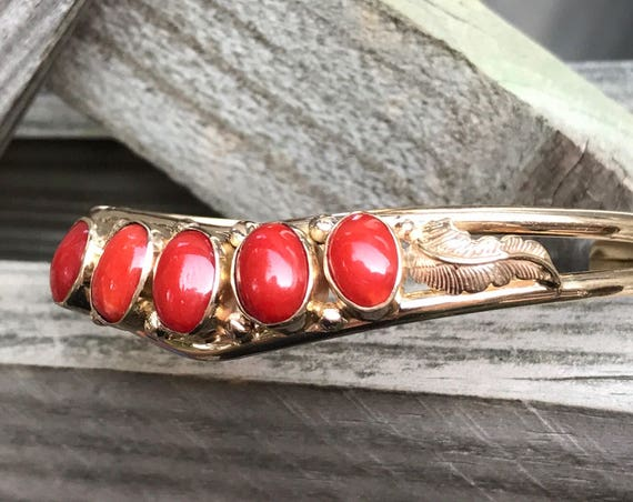 14K Gold Coral Cuff Bracelet - Native American Style