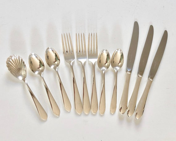 1932-1979 Sterling Partial Set S. Kirk & Son Wadefield Flatware (Forks, Teaspoons, Knives, Sugar Spoon, Demitasse Spoons)