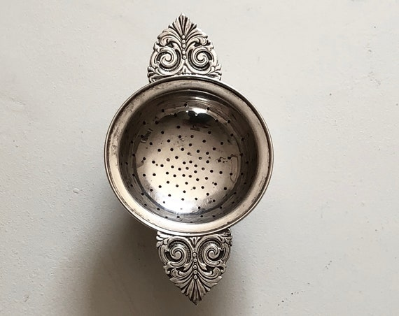 Sterling Silver Tea Strainer and Catch Basin - Industria Argentina by Arte