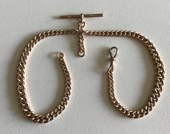 9 ct Rose Gold English Albert Watch Chain - Made by Charles Daniel Broughton of Birmingham - Husband Gift