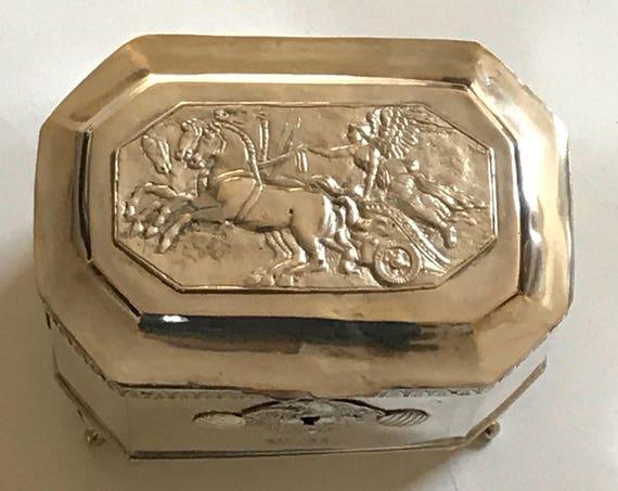 1850 Antique Ukraine Sugar Box or Etrog Box 12 Loth Sterling Silver