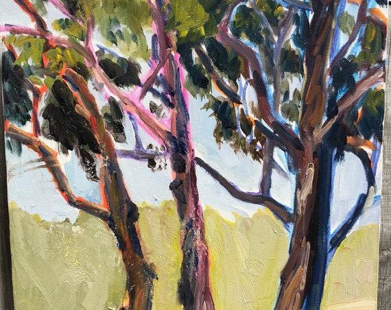 Contemporary California Eucalyptus Painting on Canvas