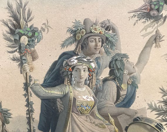 "1850 Antique French Louis Adolphe Gautier Chromolithograph after Louis Léopold Robert  (1794-1835) ""La Fete de la Madone de l'Arc"""