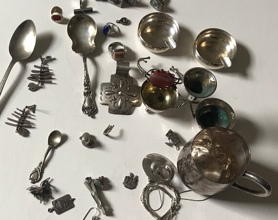Lot of Sterling Silver Scrap for Reuse or Jewelry Making - 383 grams