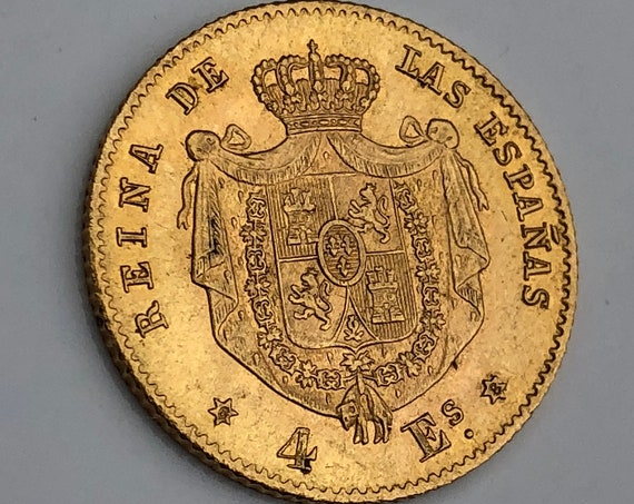 1868 Spanish Gold 4 Escudo Madrid Mint Coin (KM631)