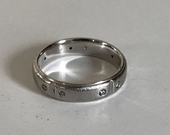 Palladium 6mm Ring or Band with Ten 2mm Diamonds (7.7 grams) for Him or Her - Wedding Size 11 3/4