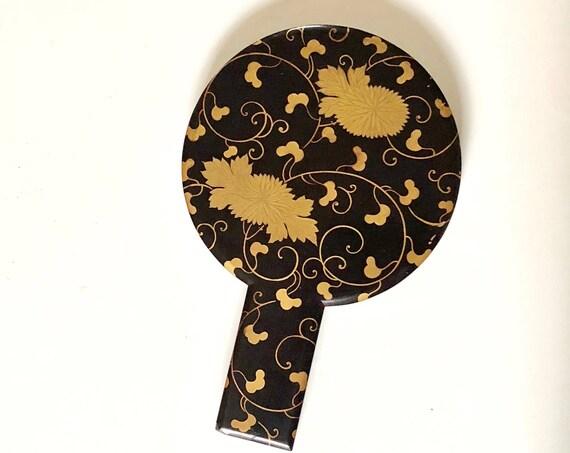19th Century Edo Japanese Kagami Silvered Bronze Hand Mirror