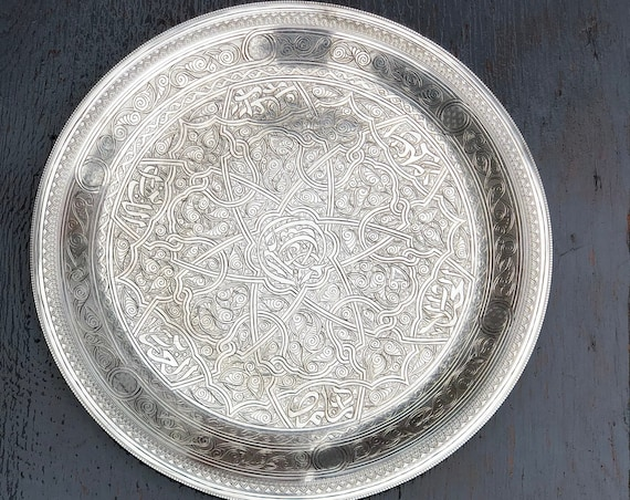 Vintage 900 Silver Egyptian Plate from Cairo