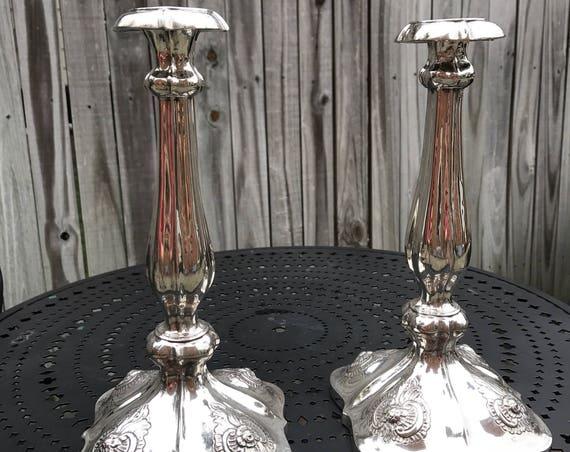 "1852 Austrian Sterling Silver Candlestick Pair (11"") Shabbat"