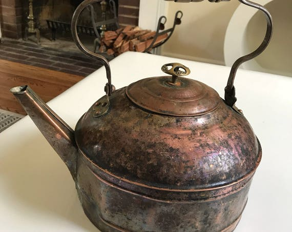 Antique Decorative Copper and Brass Revere Tea Kettle