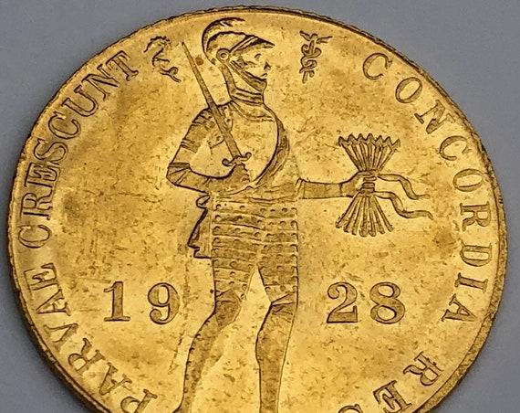 1928 Dutch Gold 1 Ducat Coin (KM 83.1a)
