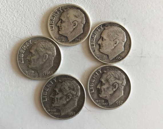 Five (5) Silver Roosevelt Dimes 1940s - 1960s