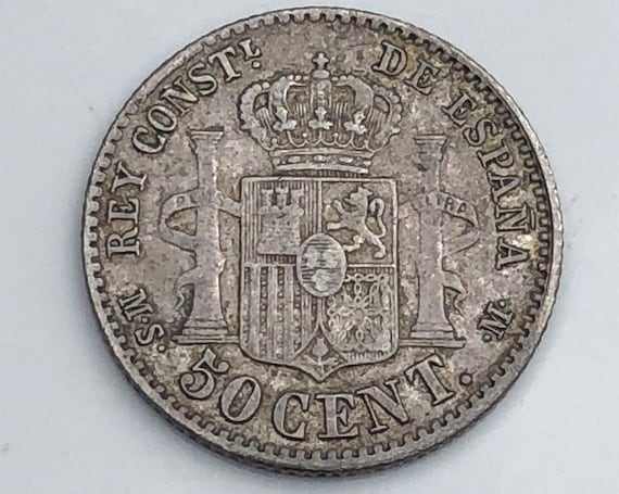 1881 XF Spanish Silver Alfonso XII Fifty (50) Centimos Coin (KM685)