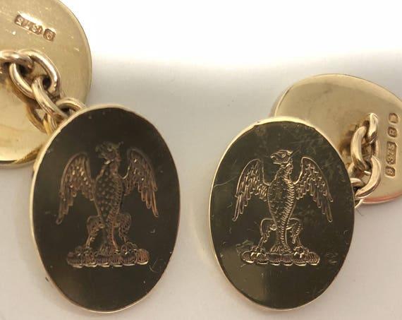 9 Ct Gold (.375) Cufflinks London, England Heraldic Eagle Displayed (Inverted) (15.3 grams)