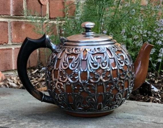 Ca 1905 Silver Overlay Ceramic Teapot