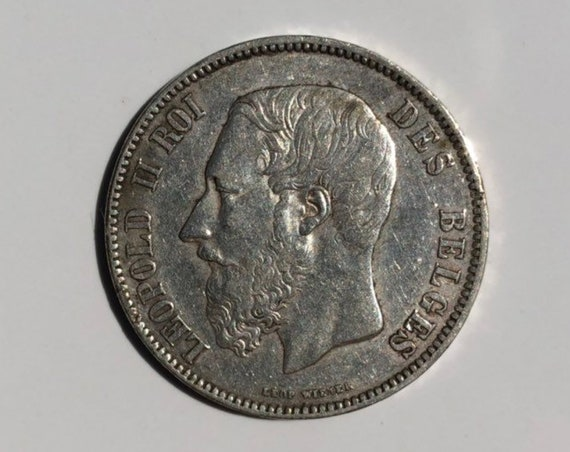 1871 Belgium 5 Francs Silver XF Coin (KM24) Leopold II