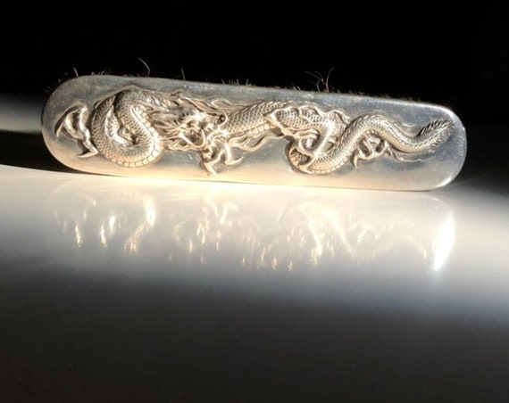1890 Chinese Export Silver Hair Brush with Dragons