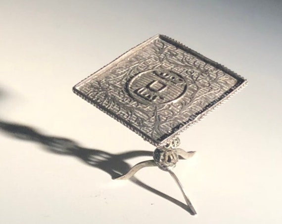 1920 Filigree Chinese Coin Motif Doll House Table in Sterling Silver