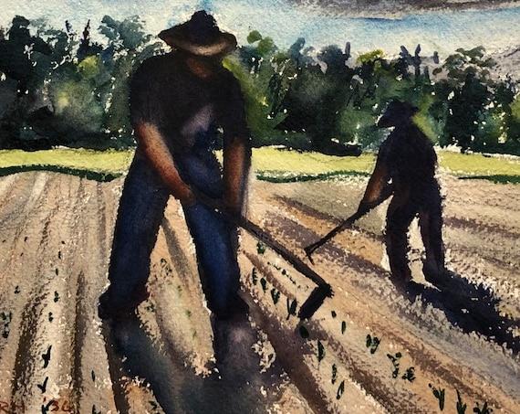 1936 Florence Bartley Smithburn Original Watercolor Painting Hoosier Regionalist