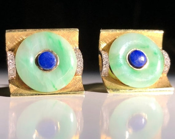 Antique 14K Gold Chinese Jade, Lapis and Diamond Cufflinks (18 grams)