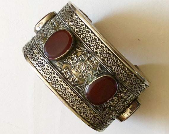 Antique Persian Silver and Carnelian Cuff Bracelet (133 grams) Turkomen Tribal