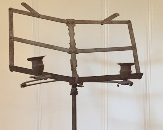 19th c. French Music Stand or Livre with Candlestick Holder Wrought Iron