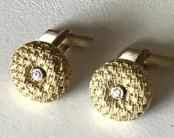 18K Gold and Diamond Midcentury Woven Cufflinks 750