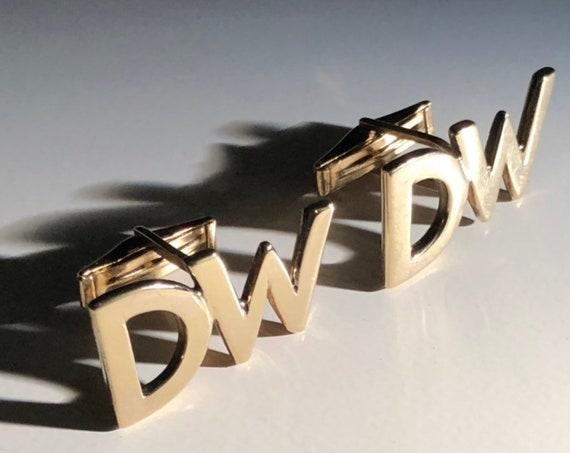 "14K Gold ""DW"" Monogram Cufflinks - Husband Gift"