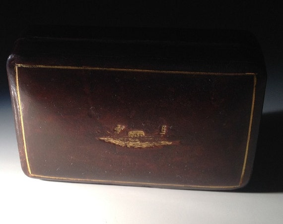 Gilt Leather Italian Box with Venetian Gondolier