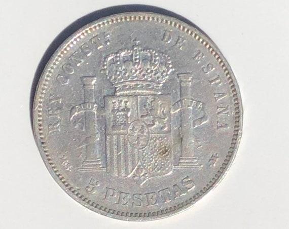 1885 VF Spanish Silver Alfonso XII 5 Pesetas Coin (KM688)