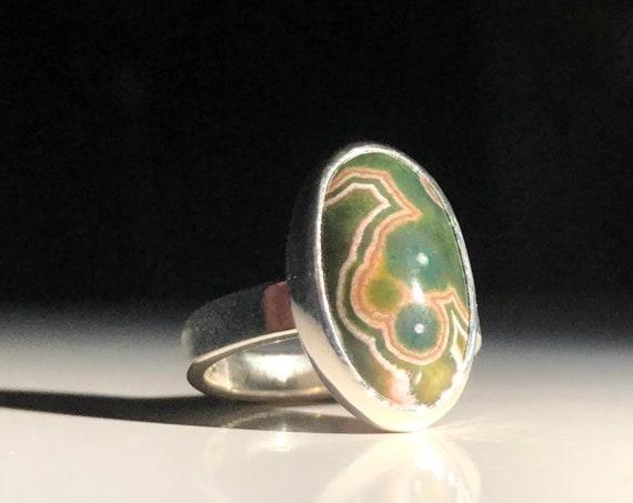 Sterling Silver Ocean Jasper Ring 925 Size 7.75