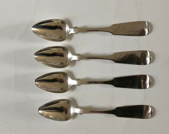 1833-44 Coin Silver Silver Teaspoon Set by George Hocknell of Rochester (L A Long Family Silver)