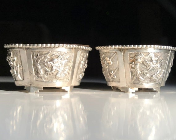 1890 Chinese Export Sterling Silver Salt Cellars with Handblown Glass Liners by Fu Sheng of Shanghai