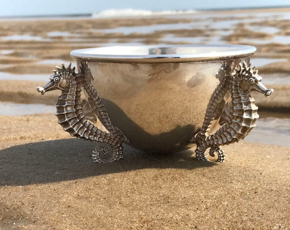 Sterling Silver Caviar Set Seahorses by Asprey of London
