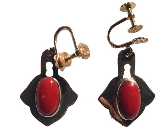 Antique 14 KT Gold and Red Coral Cabochon Screw Back Earrings - Wife Gift