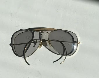 bfb8f0405fd Handsome Ray-Ban Outdoorsman Aviator Grey Glasses Gold Plated