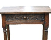 1725 William and Mary English Carved Oak Side Table