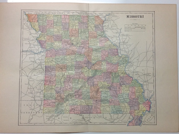 Color Map of Missouri and Indian Territories from 1897