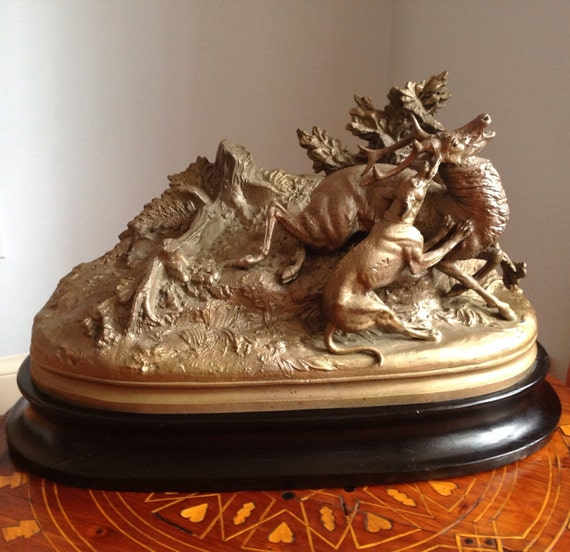 1870 Max Arthur Waagen - French Cast Sculpture Stag Beset by Hound - Pittsburgh Provenance
