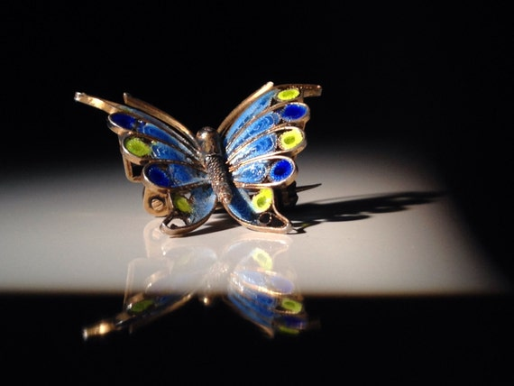 Antique Italian 800 Silver Enamel Butterfly Brooch