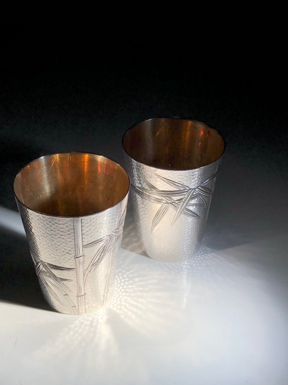 1960 Japanese Sterling Silver Gilt Hand Hammered Shot Glass or Sake Cup with Bamboo Motif (105+ grams)