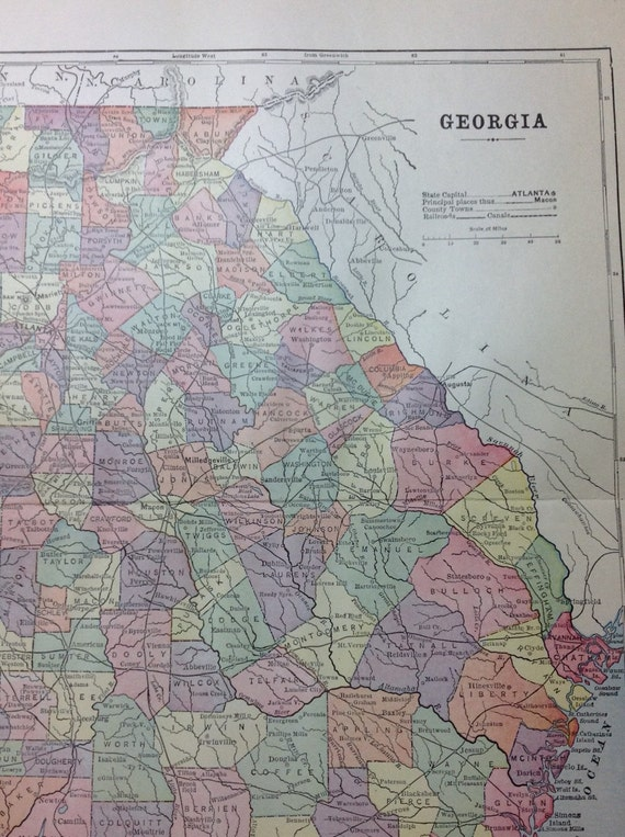 Antique Map of Georgia - 1897
